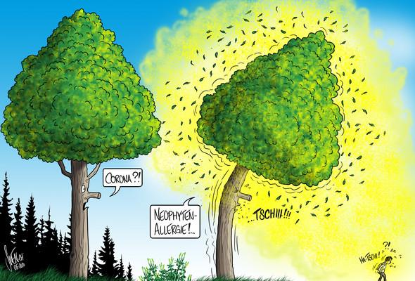 Grüngut im Wald zu deponieren ist nicht nur verboten, sondern fahrlässig. Cartoon: Silvan Wegmann